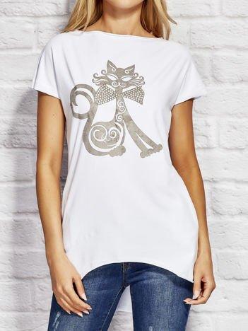 Bluzka damska z nadrukiem kota biała