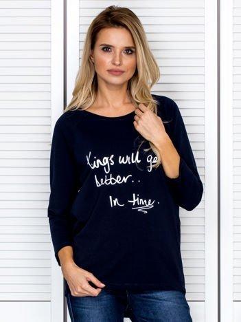 Bluzka damska z napisem granatowa