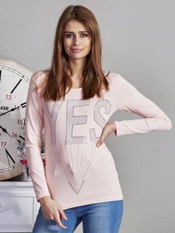 Bluzka damska z napisem z dżetów różowa