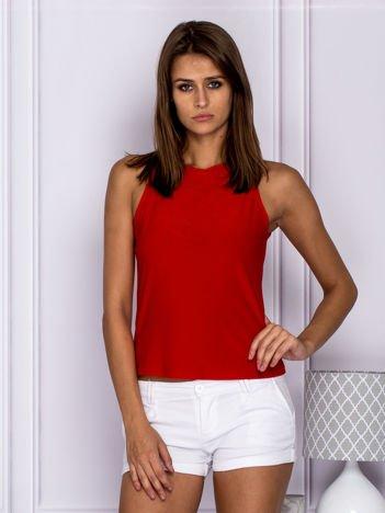 Bluzka damska z okrągłym wycięciem z tyłu czerwona