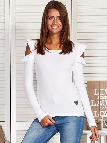 Bluzka damska z wycięciami i falbankami biała