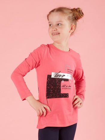 Bluzka dla dziewczynki z nadrukiem różowa