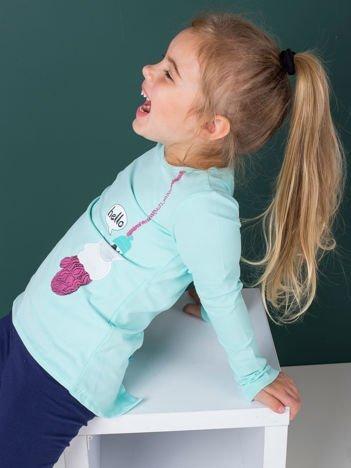Bluzka dla dziewczynki z zimowym nadrukiem miętowa