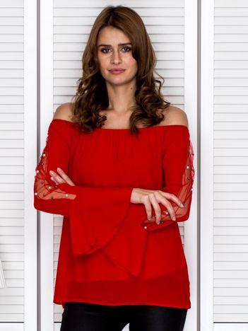 Bluzka hiszpanka z ozdobną aplikacją na rękawach czerwona