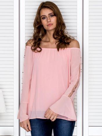 Bluzka hiszpanka z ozdobną aplikacją na rękawach różowa