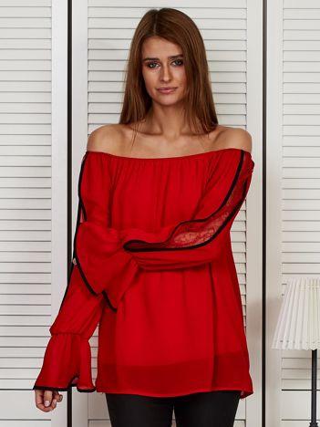 Bluzka hiszpanka z szerokimi rękawami czerwona
