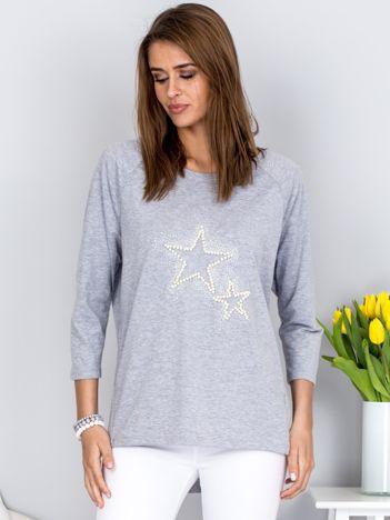 Bluzka jasnoszara z biżuteryjnymi gwiazdkami