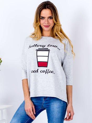 Bluzka jasnoszara z kawą