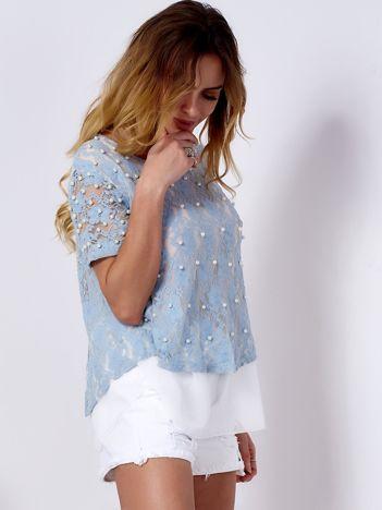 Bluzka koronkowa jasnoniebieska z perełkami