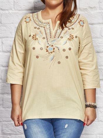 Bluzka koszulowa oversize w folkowe wzory beżowa