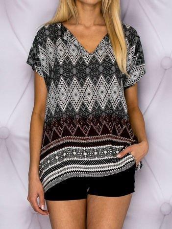 Bluzka koszulowa oversize w geometryczny wzór czarna