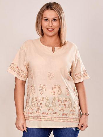 Bluzka koszulowa oversize z motywem paisley beżowa