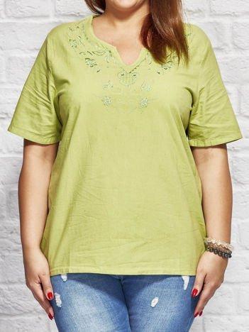 Bluzka koszulowa z haftowanym wzorem zielona PLUS SIZE