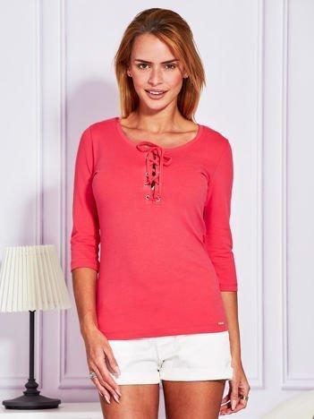Bluzka lace up różowa
