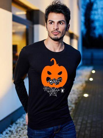 Bluzka męska czarna Halloween z nadrukiem dyni