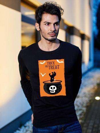 Bluzka męska czarna z nadrukiem TRICK OR TREAT