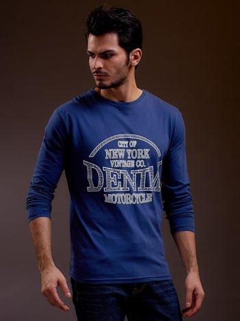 Bluzka męska z nadrukiem NEW YORK DENIM niebieski