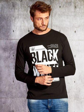 Bluzka męska z nadrukiem napisów czarna