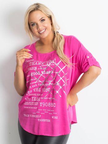 Bluzka plus size z nadrukiem różowa