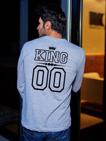 Bluzka szara męska z napisem KING na plecach dla par