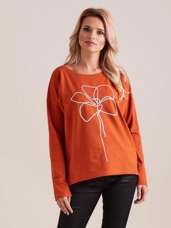 Bluzka z długim rękawem pomarańczowa