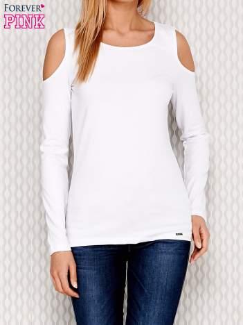 Bluzka z długim rękawem z ramionami cut out biała