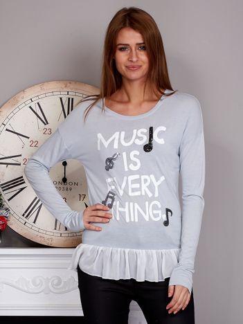 Bluzka z falbanką MUSIC IS EVERYTHING szara