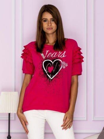 Bluzka z falbankami na rękawach różowa