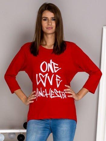 Bluzka z napisem ONE LOVE MANCHESTER czerwona