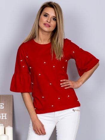 Bluzka z rozszerzanymi rękawami i perełkami czerwona