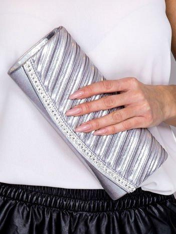 Błyszcząca kopertówka z diamencikami srebrna