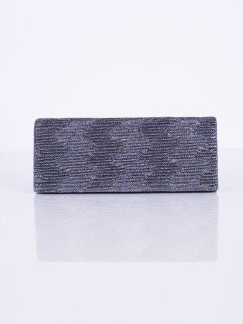 Błyszcząca kopertówka z ozdobnym karbowaniem szara
