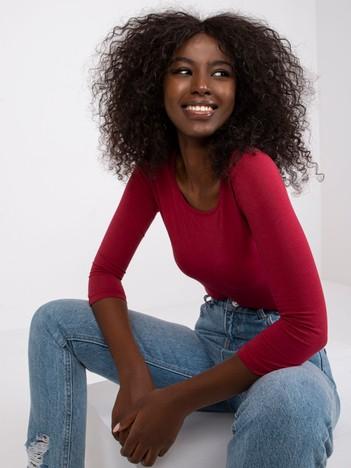 Bordowa bawełniana bluzka basic
