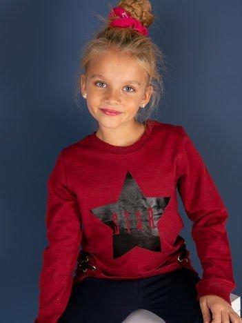 Bordowa bluza dla dziewczynki z nadrukiem gwiazdy