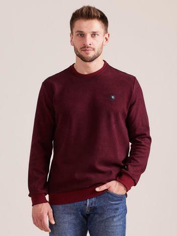 Bordowa bluza męska w drobny geometryczny wzór