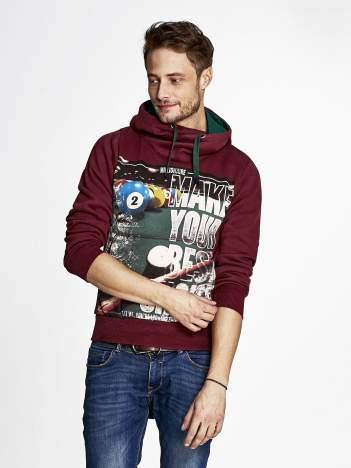 Bordowa bluza męska z napisem MAKE YOUR BEST SHOUT