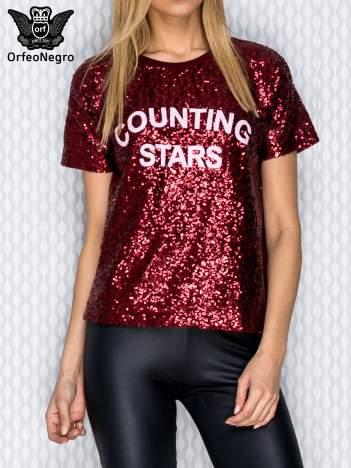 Bordowa bluza z cekinami i napisem COUNTING STARS