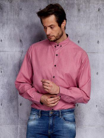 Bordowa koszula męska w delikatny wzór PLUS SIZE