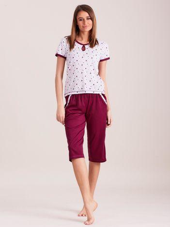 Bordowa piżama damska w gwiazdki