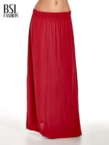 Bordowa spódnica maxi z rozporkiem