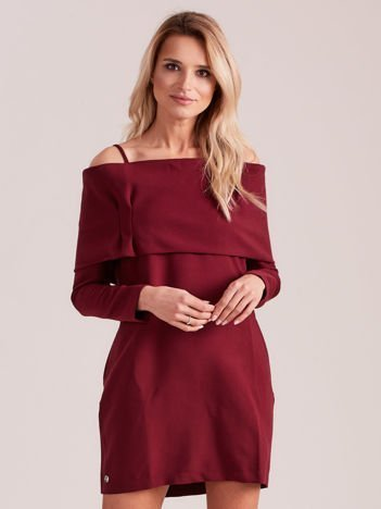 Bordowa sukienka cold arms z szeroką falbaną