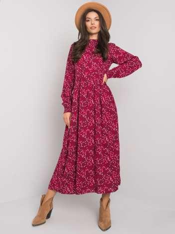 Bordowa sukienka damska we wzory Shaddia FRESH MADE