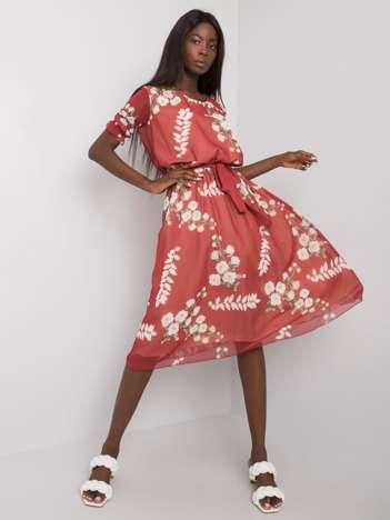Bordowa sukienka damska z printami Odile