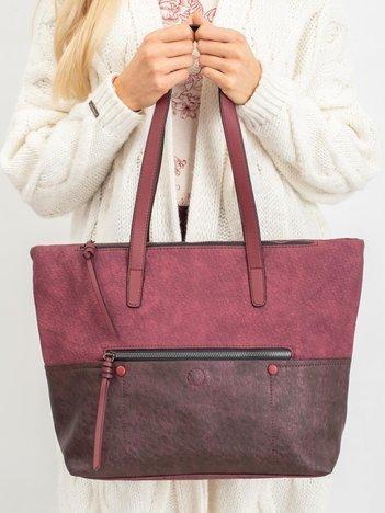Bordowa torba damska shopper z ekoskóry