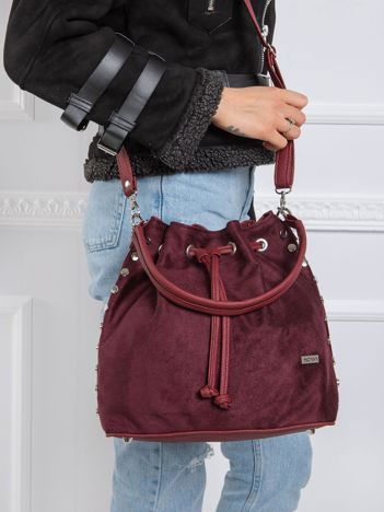 Bordowa torba worek z ekoskóry