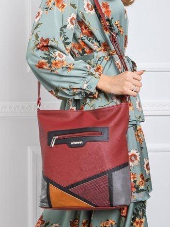 Bordowa torba z aplikacją