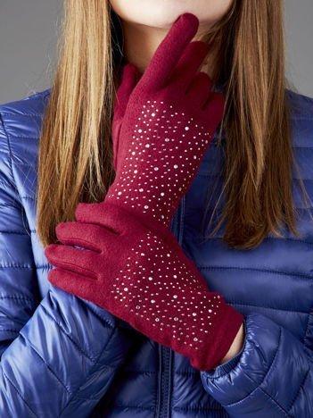 Bordowe miękkie rękawiczki z dżetami