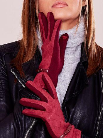 Bordowe ocieplane rękawiczki z kokardką i ażurowaniem