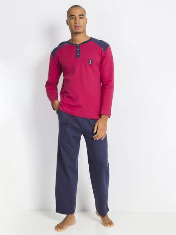 Bordowo-granatowa piżama męska