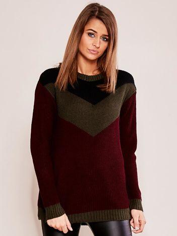 Bordowo-khaki sweter w bloki kolorów